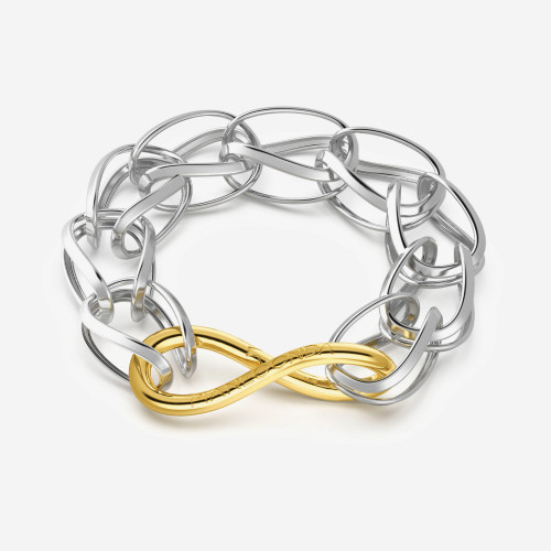 Bracelet TECUM. 925‰ sterling silver bracelet with small meshes and 18 kt gold plating carabiner clasp